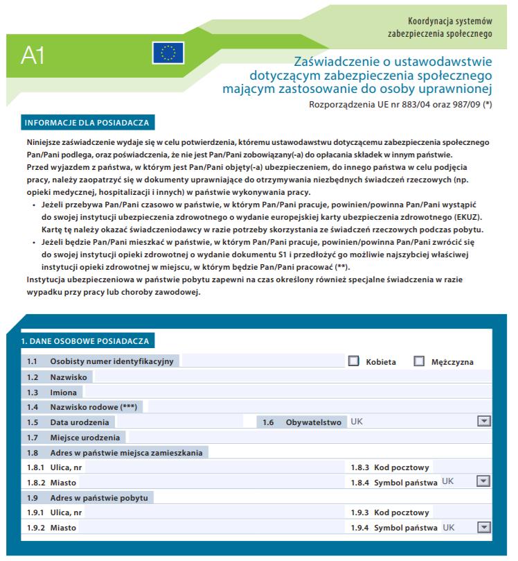 A1 Bescheinigung Formular für Pflegekräfte – Jacura 24h-Betreuung ...